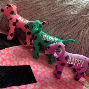 Victoria's Secret PINK dogs set of (3) polka dot